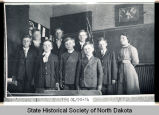 Ted, Martin, Cliff, and George Holter, others, and teacher at rural school south of Valley City, N.D.