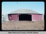 Robert Abell round barn, exterior view, Burnstad, N.D. vicinity