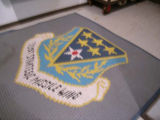 Mat with 321st Strategic Missile Wing insignia at Oscar Zero missile alert facility near Cooperstown,