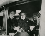 Eleanor Roosevelt and Carrie Brunsdale in car, Bismarck, N.D.