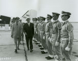 C. Norman Brunsdale inspecting Air National Guardsmen, Hector Airport, Fargo, N.D.