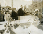 C. Norman Brunsdale and Dwight D. Eisenhower in car, Minot, N.D.