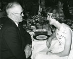 C. Norman Brunsdale and Audrey Hanssen at Search for American Homemaker of Tomorrow dinner,...