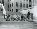 C. Norman Brunsdale speaking on North Dakota State Capitol steps, Bismarck, N.D.