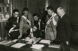C. Norman Brunsdale with Boy Scouts in Governor's Office, Bismarck, N.D.