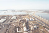 Aerial view of high water around Crystal Sugar plant, Hillsboro, N.D.