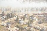 Aerial view of residential area surrounded by flood waters, Grand Forks, N.D.