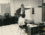IBM personnel with new computer equipment for State Radio System, Bismarck, N.D.