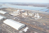 Aerial view of floodwaters at Crystal Sugar plant, Hillsboro, N.D.