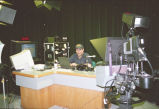 FEMA worker in television studio, Grand Forks, N.D.