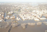 Aerial view of flooded downtown Grand Forks, N.D.