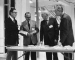 William L. Guy and others inspecting pasta products at rededication of North Dakota State Mill & Elevator,