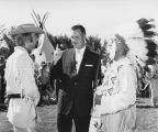 William L. Guy with people in Native American and western dress, Bismarck, N.D.