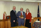 North Dakota Public Service Commissioners Leo M. Reinbold, Bruce Hagen, and Susan Wefald
