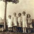Phil Prall, Mary Johnson, Carrie Jensen, Amy Prall and unknown girl, Brantford, N.D.