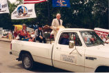 Arthur A. Link, Mary Louise Defender Wilson and S.F. Hoffner in centennial parade, Williston, N.D.