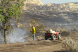 Putting out hotspots after Whitetail fire, Elkhorn Ranchlands, Billings County, N.D.