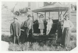 Alberie and Malvina Cote and others with Model T Ford, Willow City, N.D.