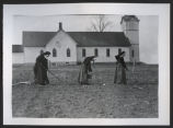 Nuns working in garden by Catholic Church, Fort Yates, N.D.