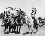 Native Americans on horseback at Four Bears Bridge dedication, Elbowoods, N.D.