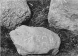 Boulder with pictographs, Fort Berthold, N.D.