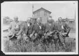 Fred E. Stockton with pioneer German Baptists, Fessenden, N.D.