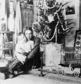 Oscar and Elwell Treumann with Christmas tree, Grafton, N.D.