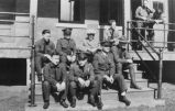 4th U.S. Infantry members on steps, Fort Lincoln, Bismarck, N.D.