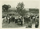 Crowd during first sod breaking of North Dakota State Capitol, Bismarck, N.D.