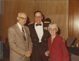 Frank and Esther Wenstrom with Major Holly at Governor Arthur Link's inauguration, Bismarck, N.D.