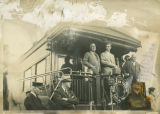 Governor Walter Welford with Franklin Delano Roosevelt on back of NPRR train on campaign trail, Bismarck,