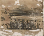Republican Band Wagon men outside bus at entrance to Theodore Roosevelt Park
