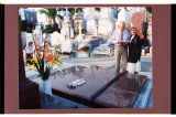 Harold and Sheila Schafer in front of de Mores family tombstone, Cimetiere du Grand Jas, Cannes,...