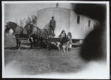 Signa Hermanson Larsen and Olga Christensen with cook car, Burke County, N.D.