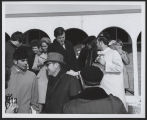 Ted Kennedy shaking hands on steps at dedication of Kennedy Memorial Center, Bismarck, N.D.