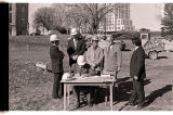 Arthur Link signing construction contract for North Dakota Heritage Center, Bismarck, N.D.