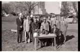 Arthur A. Link signing construction contract for North Dakota Heritage Center, Bismarck, N.D.