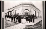 Columbus Band in front of First International Bank, Columbus, N.D.