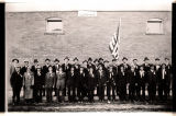Burke County World War I draftees outside courthouse, Bowbells, N.D.