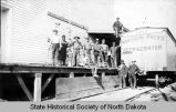 De Mores packing plant workers and refrigerated railroad car, Medora, N.D.