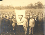 Presentation of YMCA flag to Armory Colonel Burleigh
