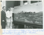 Miles S. Horn (White Crow), Secretary of the Interior Stewart L. Udall and Horn's painting,...