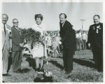 Jean Guy and Hubert H. Humphrey with shovels at Kennedy Memorial Center groundbreaking, Bismarck, N.D.