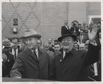 Vice President Hubert H. Humphrey with Governor William L. Guy during visit to Bismarck, N.D.