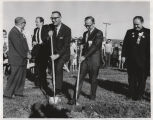 William L. Guy and Rolland Redlin with shovels at Kennedy Memorial Center groundbreaking, Bismarck, N.D.
