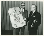 Bertin C. Gamble receiving Theodore Roosevelt Rough Rider award, Grand Forks, N.D.