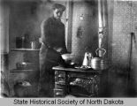 Sod house interior, Divide County, N.D.