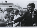 John F. Kennedy and Frank Knox departing fairgrounds, Fargo, N.D.