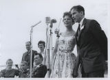 James Symington and Carol Olson sing for crowd at Quentin Burdick's birthday party, Fargo, N.D.