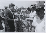 John F. Kennedy greets crowd on arrival at airport, Fargo, N.D.